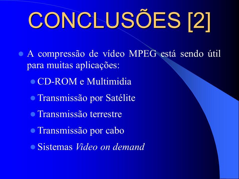 CONCLUSÕES [2] A compressão de vídeo MPEG está sendo útil para muitas aplicações: CD-ROM e Multimidia.